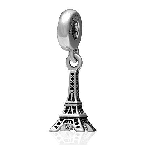 Colgante de plata de ley 925 con diseño de Torre Eiffel de Viaje París para pulseras de estilo europeo