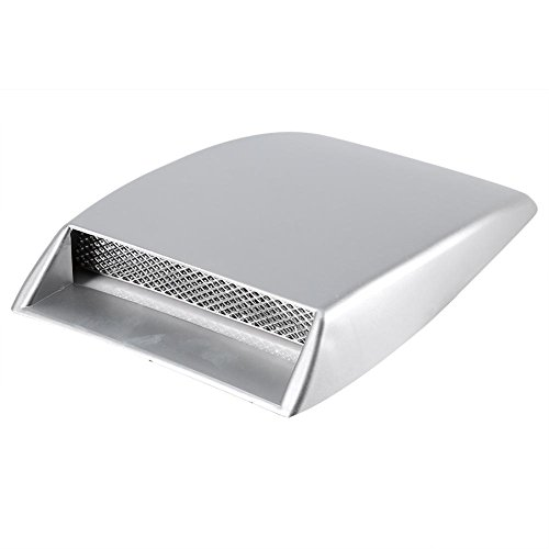 Universal Car Decorative Air Flow Intake Hood Scoop Bonnet Vent Sticker Cover Hood (Silver)