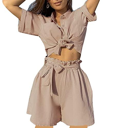 each women Traje Casual de Negocios para Mujer Camisa con Botones Tops y Pantalones Cortos Conjunto de Temperamento