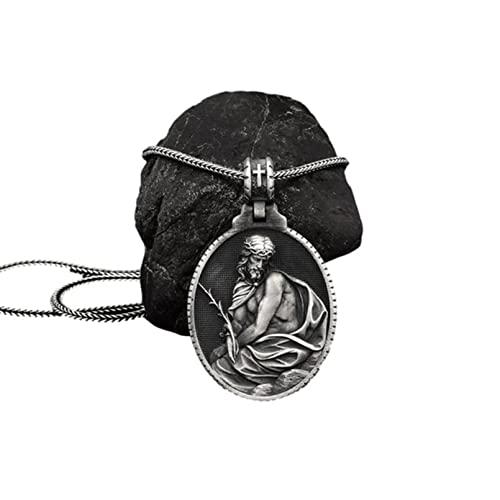 QLJYT Collar con Colgante de Jesús Católico Vintage Collar Cadena de Hombre con Medalla Cristiana Accesorios Joyería de Fe Religiosa