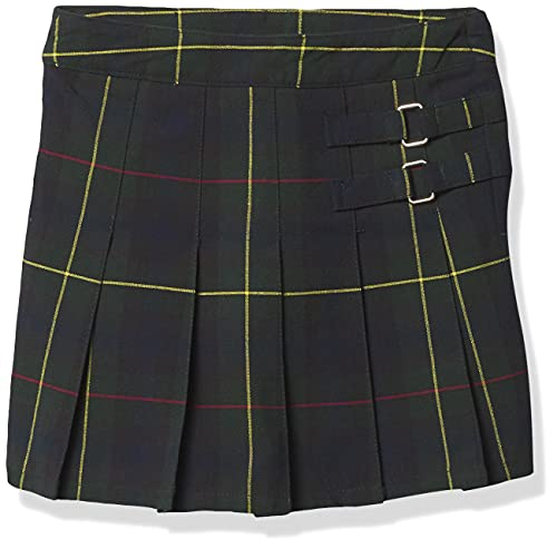 French Toast Big Girls' Plaid Pleated Scooter, Green, 14