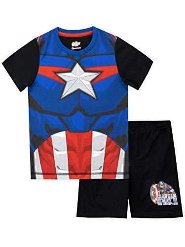 Marvel Jungen Captain America Schlafanzug Schwarz 134