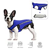 Slowton Dog Jacket, Winter Dog Coat Adjustable Pet Vest Reflective Stripe Waterproof Windproof Warm Snowsuit Detachable Flannel Lined Jackets Cold Weather Clothes for Small Medium Large Dogs (S, Blue)
