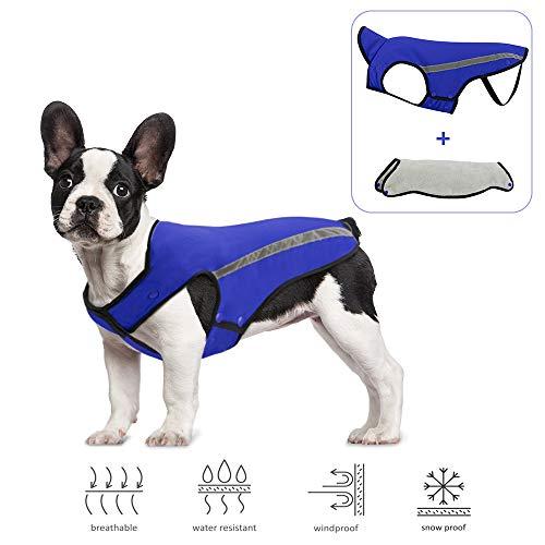 SlowTon Hundewinterjacke, Hundemantel, Verstellbarer Nacken und Brustgröße Haustierweste mit reflektierenden Streifen Wasserdichter Hundepullover Schneeanzug Warm halten