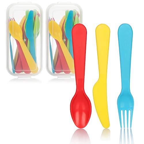 COM-FOUR® 32-delige herbruikbare bestekset, kleurrijke messen, vorken en lepels voor kinderen en op de camping, robuust, kleurrijk plastic bestek (32-delig - bestekset)
