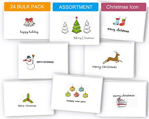 Holiday Card Boxed Set 24, Small Christmas Cards Bulk Cute Xmas Cards, Blank Greeting Cards with Envelopes and Sealed Stickers, Happy Holiday Note Cards 8 Assorted Designs