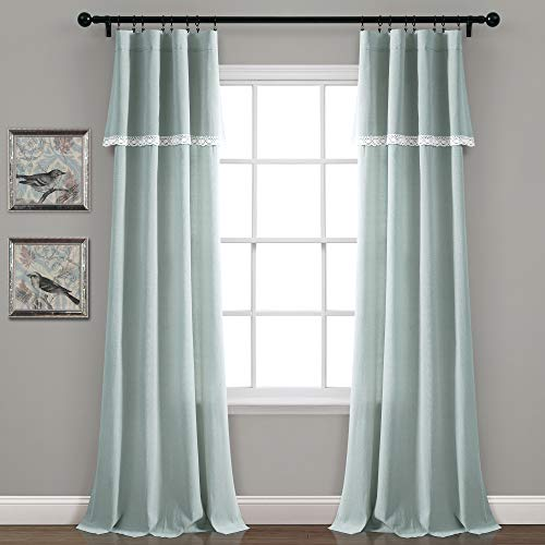 "Lush Decor, Blue Linen Lace Window Curtain Panel Pair, 84"" x 38"""