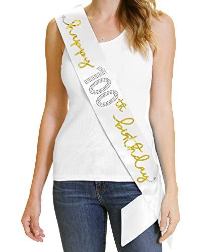 Happy 100th Birthday Gold Sash - Premium 100th Birthday Party Decorations White Sash(Hpy100Bday Gld) WHT