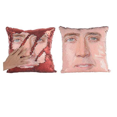 Funda de Almohada Creativa Nicolas Cara Reversible Lentejuelas de Almohada Cubierta Decorativa Throw Cushion Caso para Sofá Cama Sofá 1PC