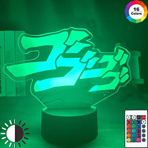 KangYD 3D Nachtlicht Anime Bizarre Adventure Letter, LED-Illusionslampe, E - Alarm Clock Base (7 Farbe), Office Decor Lampe, Stimmungslampe, Kreatives Licht, Nachttischlampe