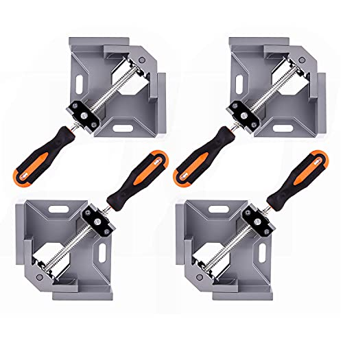 4PCS Angle Clamp 90 Degree Clamps For Woodworking,Swing Jaw, Adjustable Frame Vise,Aluminum Alloy Corner Clamp ,Carbon Steel Threaded Rod,For Welding, DIY Woodworking, Photo Corners.
