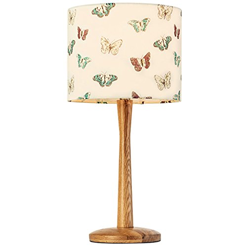 Lampe de table en bois massif, abat-jour de broderie, base en bois, E27, nordique Simple Style lampe de chevet de chambre à coucher Salon étude bureau lampe de bureau (Color : Butterfly)