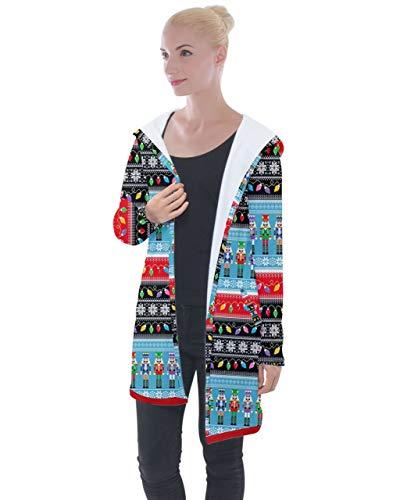 PattyCandy Womens Xmas Lights Cool Nutcracker Longline Hooded Cardigan - XL