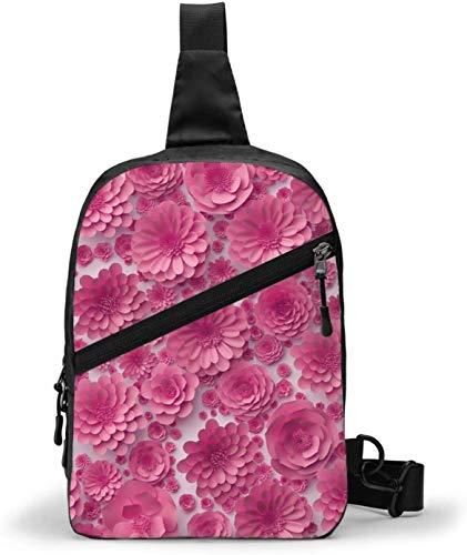 Rosa Papier-Blumen Schultertasche, Crossbody Schulter Brust Outdoor Wandern Reisen Persönliche Tasche Tasche für Damen Herren Wasserdicht