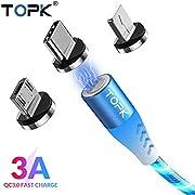 TOPK 3 in 1 Magnetisch Kabel USB 2nd Generation 3A Magnetic Sync Datenkabel Ladekabel mit Sichtbar fließendem LED Licht, i-Product Micro USB Typ C Magnet Adapter(1m)-Blau