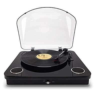 Photive Spin Vinyl Record Player with Built-in Speakers | 3-Speed Stereo USB Turntable Supports Vinyl to MP3 Recording | Bluetooth and RCA Connectivity (Piano Black)