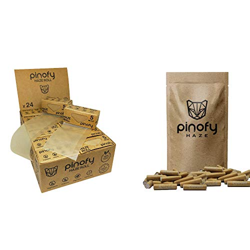 PINOFY Rolling Set | Papes + Active Tips unbleached [24+60] Endless Rolls + Aktivkohle Filter | braune ungebleichte Paper Rolls + Aktivkohlefilter 6mm gegen Schadstoffe