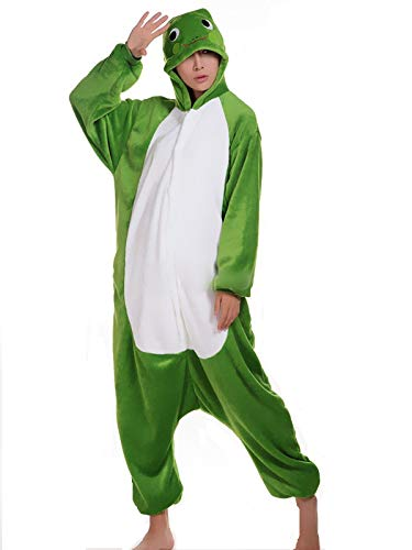 Unisex Zebra Giraffe Frosch Hai Wolf Pinguin Löwe Eule Nilpferd Panda Onesie Kigurumi Pyjama Karneval Kostüm Maskenkostüm Kapuzenpulli Schlafanzüge Frosch, M(Height 160cm-170cm)