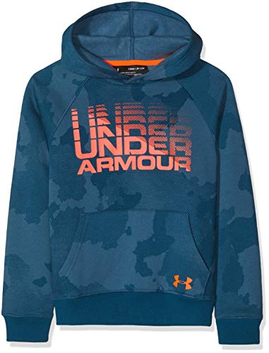 Under Armour Rival Word Mark Hoody Warm up Top Techno TealMagma Orange Youth Small