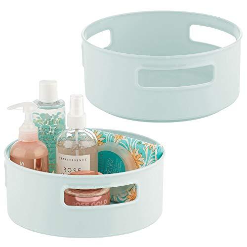 mDesign - Draaiplateau - carrousel/bergruimte - voor lotions, make-up, cosmetica en medicijnen - voor badkamer en keuken - rond/met handvatten - Mintgroen - per 2 stuks verpakt