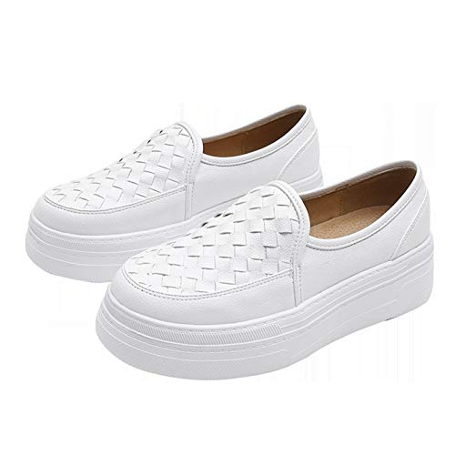 Women Slip On Platform Shoes Wearable Causal Sneakers Outdoor Spring Autumn Retro Chunky Shoes Leather Creepers Shoes for Work White