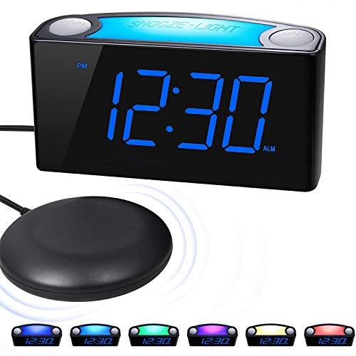 ROCAM Vibrationswecker für Tiefschläfer,LED Wecker mit 7 Farbigem Nachtlicht,7''LED-Anzeige&Dimme,Große Schlummertaste,2 USB-Ladegerät für Schwere Schläfer,Hörgeschädigten,Gehörlosen - Blau