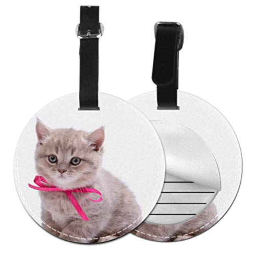 BagTagsForLuggageWomen Bow Tie Cute Cat Domestic TagsForSuitcaseTravelBag TravelIdTag With Adjustable Black Strap For Bags & Baggage With Privacy Protection For Women Men