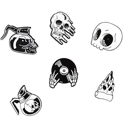 Enamel Pins set Cute Cartoon Brooches Lapel Badge Women Clothing Bag Decor (skull)