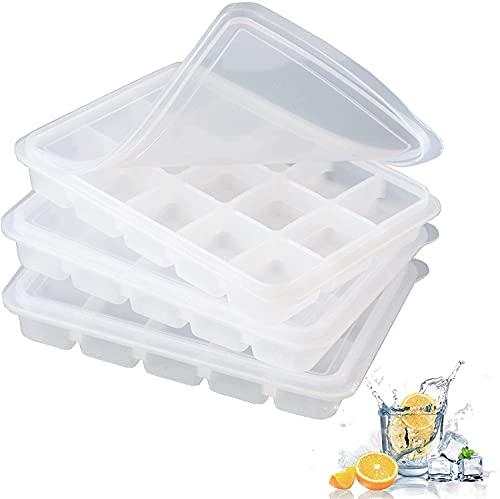 LessMo 3 Piezas Bandeja Cubitos de Hielo, Silicona Molde para Cubitos de Hielo con Tapa, 45 Cubitos, Fácil de Liberar, Reutilizable, Utilizado para Bebidas Refrigeradas, Comida para Bebés
