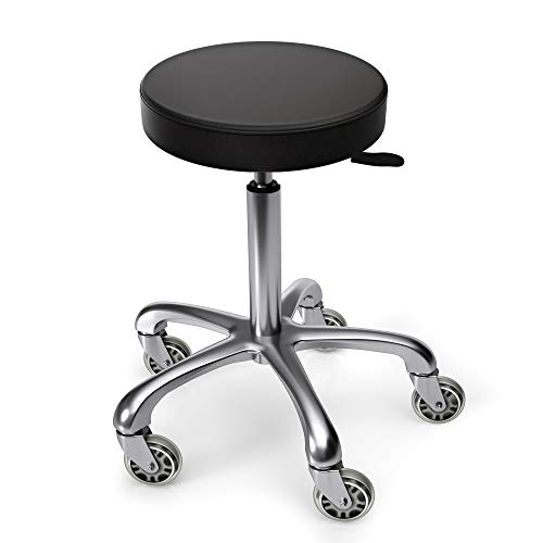 TASALON Rolling Stool - Adjustable Stool with Wheels - Soft Swivel Workbench Stool- Desk Stool Chair for Kitchen, Salon, Spa, Tattoo, Pedicure - Massage Stool Salon Stool Esthetician Chair – Black