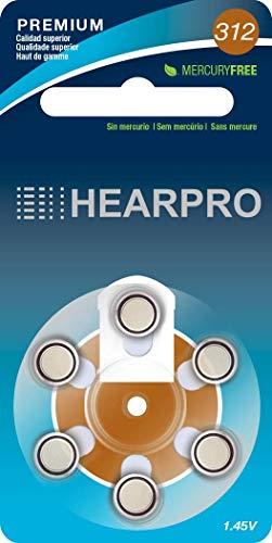 HEARPRO Size 312 Long-Lasting Hearing Aid Batteries 60 Pack - Mercury-Free - Zinc Air Technology -...