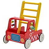 Red Aircraft Wooden Baby Push Walker - 2-in-1 Toddler Push & Pull Toys Learning Walker Stroller Walker with Wheels for Baby Girls Boys 1-3 Years Old