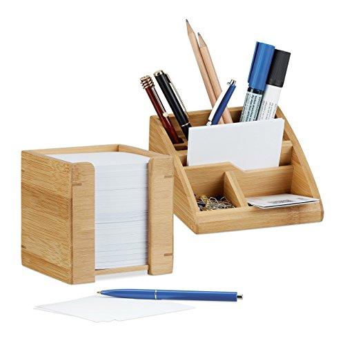 2 tlg. Schreibtisch Set, Schreibtisch-Organizer mit Stiftehalter, Zettelbox mit Notizzetteln 900 Blatt, aus Bambus