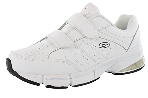 Dr.Scholls Men's Omega Light Weight Dual Strap Closure Sneaker Wide Width, White, 11 Wide