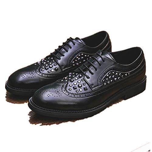 Best-choise Zapatos Brogue for Up Estilo de Microfibra de los Hombres del Extremo del ala Oxford cordón de Cuero de Waxy Cordones Anti Slip con Textura Remaches decoración Informal Llamativo