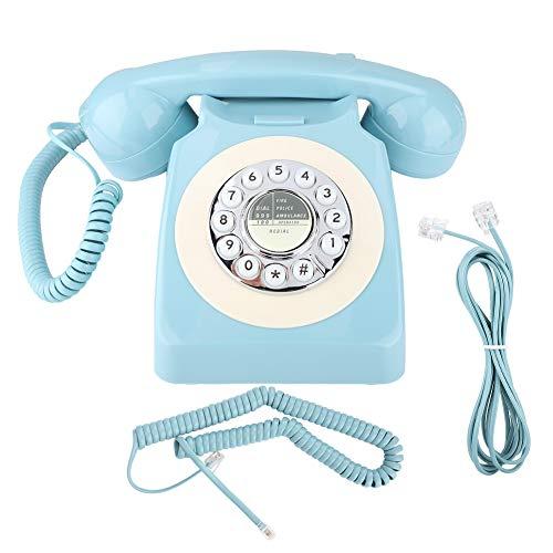 Asixxsix Teléfono Fijo Retro, MYS-300A Teléfono Retro Vintage con marcación giratoria con botón pulsador Teléfono con Cable antiinterferencias electromagnéticas