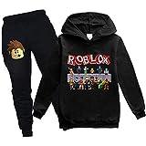 EMILYLE Roblox ロブロックス ボーイズ 子供 キッズパーカー セータースーツ ゲーム 2点セット 裏起毛 暖かい かわいい 人気 キュット (1258 ブラック 150)