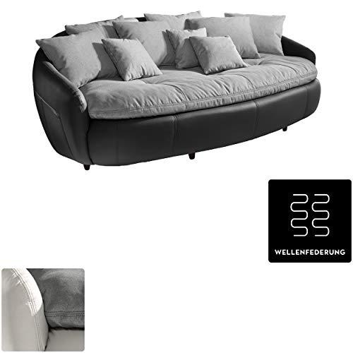 Mivano Megasofa Aruba / Großes Big Sofa mit Kissen / 238 x 80 x 140 / Materialmix Schwarz-Grau