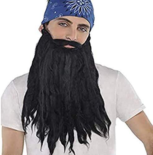 amscan 840920 Long Black Plush Beard and Moustache, 1 Piece, 10.5' x 7.2'