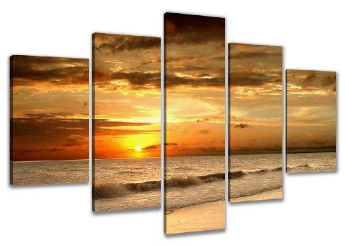 Visario Leinwandbild, orange beige braun Gold schwarz gelb