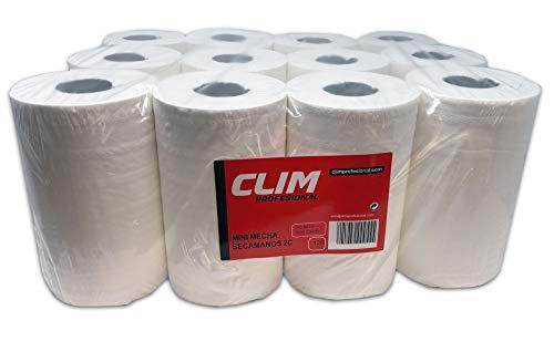 Clim Profesional. Pack de 12 rollos de papel secamanos MINI mecha Clim Profesional®. Papel extrablanco de 2 capas y precortado. Rollo de papel tamaño mini