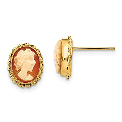 14ct Kamee Ohrringe Post - Maße 9 x 7 mm - JewelryWeb