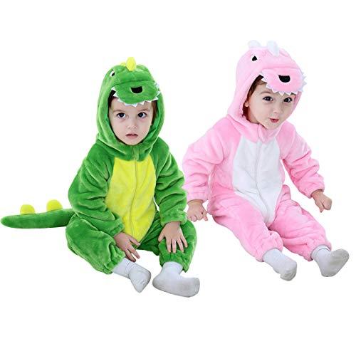 Dinosaur Costume Kids Hooded Onesie Animal Costume Halloween (Green, 3-4 Years)