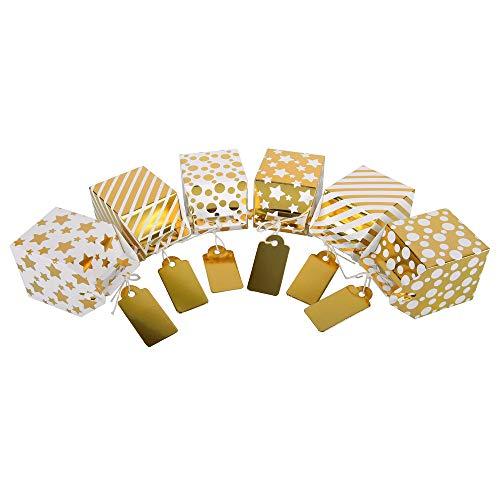 ewtshop® Candy-Boxen mit Goldfolie, 12er Set, niedliche Geschenkboxen, für Bonbons, Pralinen, Schmuck, 6 verschiedene Designs