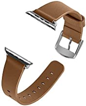 J&D Replacement Band for Apple Watch 44mm Series 4, [Classic Series] Genuine Leather Strap Wrist Band Replacement w/Metal Clasp Adapter Compatible for Apple Watch 44mm Series 4 - Brown