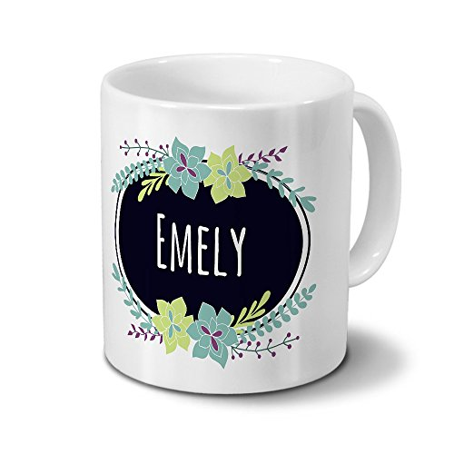 Tasse mit Namen Emely - Motiv Flowers - Namenstasse, Kaffeebecher, Mug, Becher, Kaffeetasse - Farbe Weiß