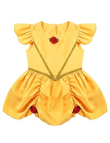 iEFiEL Baby Mädchen Biest und Prinzessin Kleid Flügelärmel Strampler Body mit Rüschen Kleinkinder Cosplay Halloween Kostüm 6-24 Monate Gelb 86-92