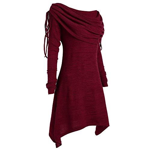 FRAUIT Plus Size Wollmantel Damen Winterjacke Mode Bohemian Frauen Stil Solid Geraffte Lange Foldover Kragen Pullover Tunika Bluse Tops Gothic Kleidung Damen Mädchen Kleidung Bluse S-5XL
