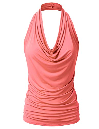 EIMIN Damen Casual Neckholder Drapierte Front Sexy Rückenfrei Tank Top (S-3XL) - Orange - Mittel