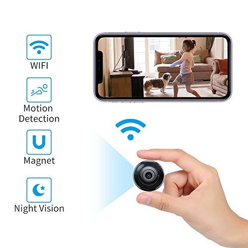 Mini Kamera, QZT WiFi Mini Überwachungskamera - HD 1080P Bewegungserkennung Infrarot Nachtsicht - Kleine Tragbare Runden IP Kamera für iPhone Android Handy, 4 * 4 * 1.5cm